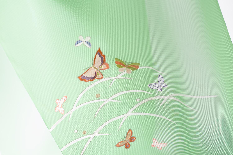 付下 駒絽 若草色 露芝に蝶