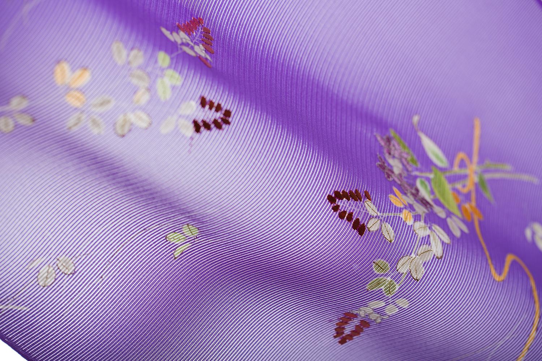付下 駒絽 薄紫地 花束萩