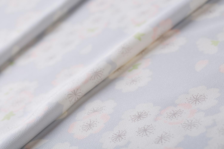 小紋 銀鼡地 縮緬 桜さくら