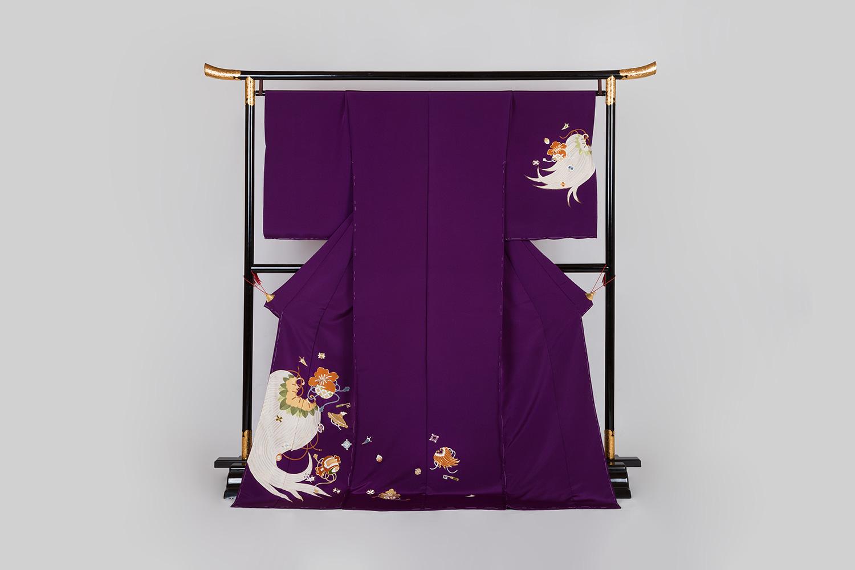 訪問着 古代紫地 宝