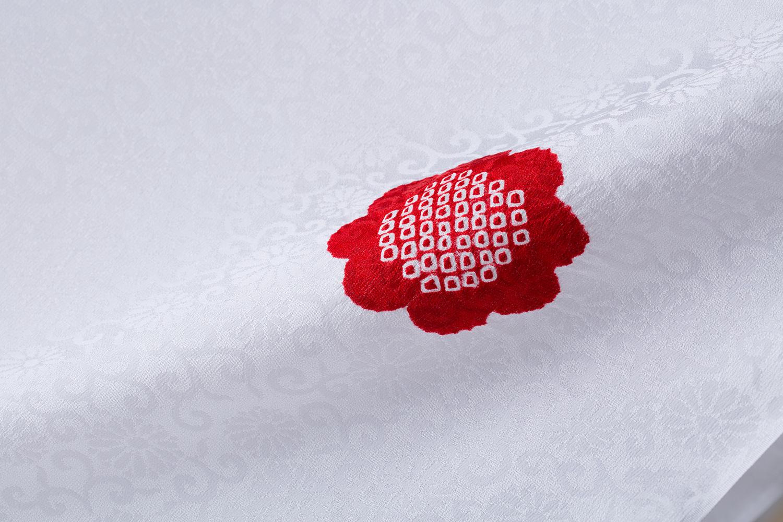 襦袢 白地輪出し絞り 紅菊