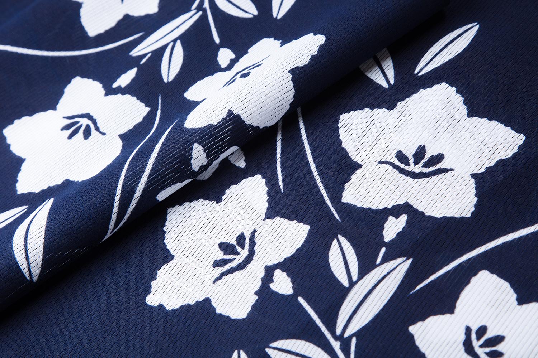 浴衣 綿絽 藍地 桔梗