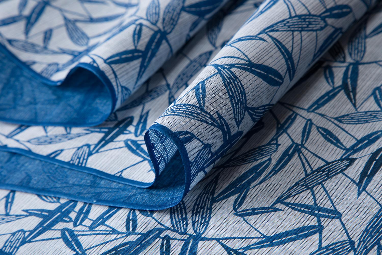 浴衣 綿乱絽 白地藍上げ 芦
